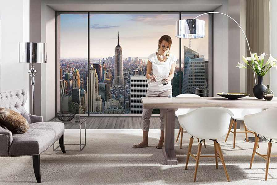 vlies fototapete penthouse in new york panorama blick. Black Bedroom Furniture Sets. Home Design Ideas