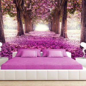 Vlies Fototapete Blumen Bäumein Lila