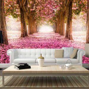 Vlies Fototapete Blumen Bäumein in Rosa