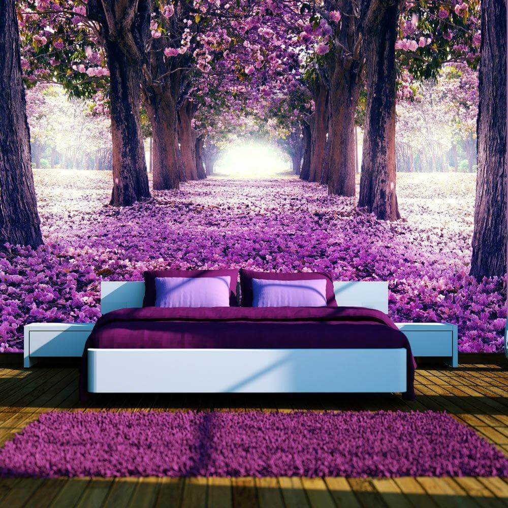 vlies fototapete blumen b ume bunte waldtapete. Black Bedroom Furniture Sets. Home Design Ideas
