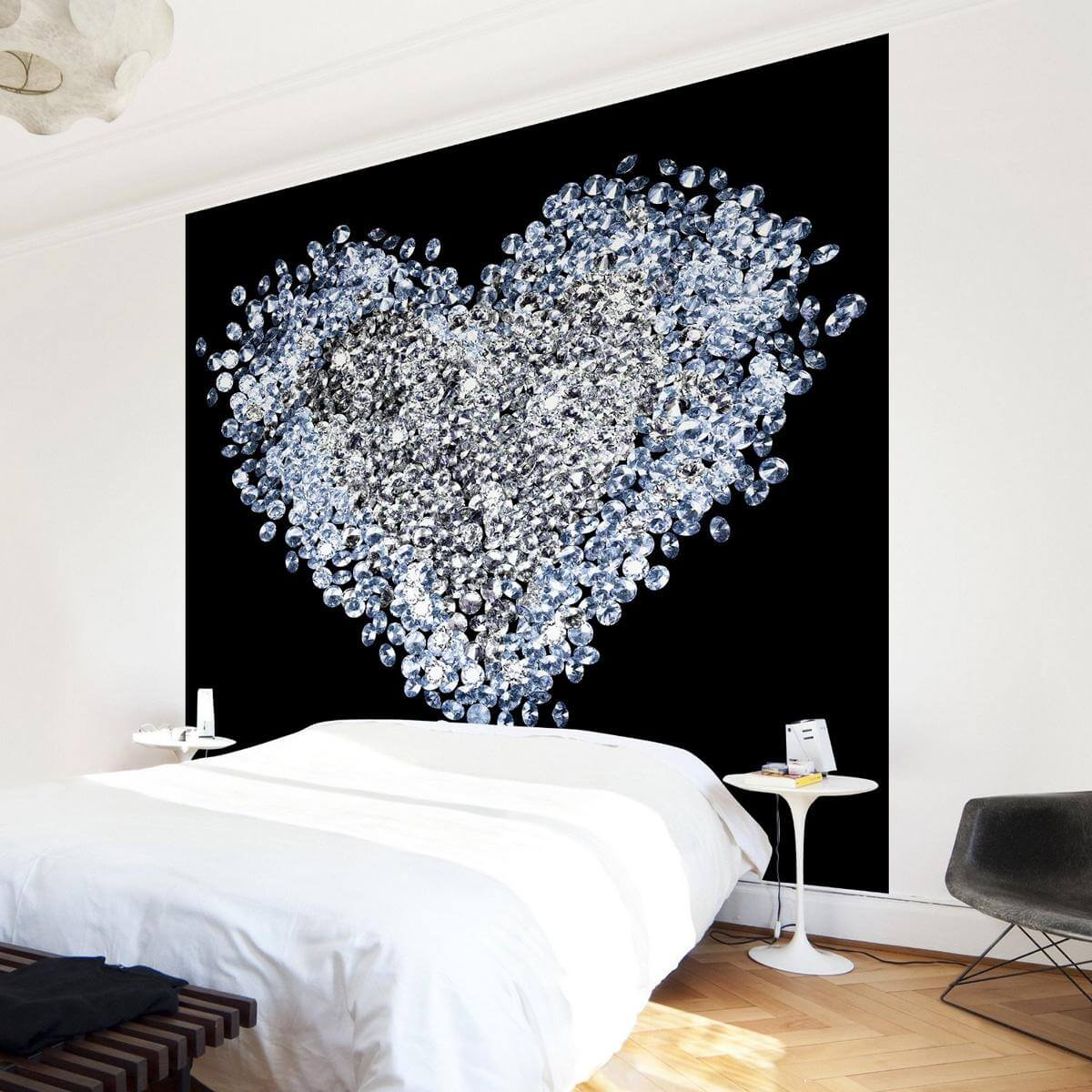 vlies fototapete herz aus diamanten mit wow effekt. Black Bedroom Furniture Sets. Home Design Ideas