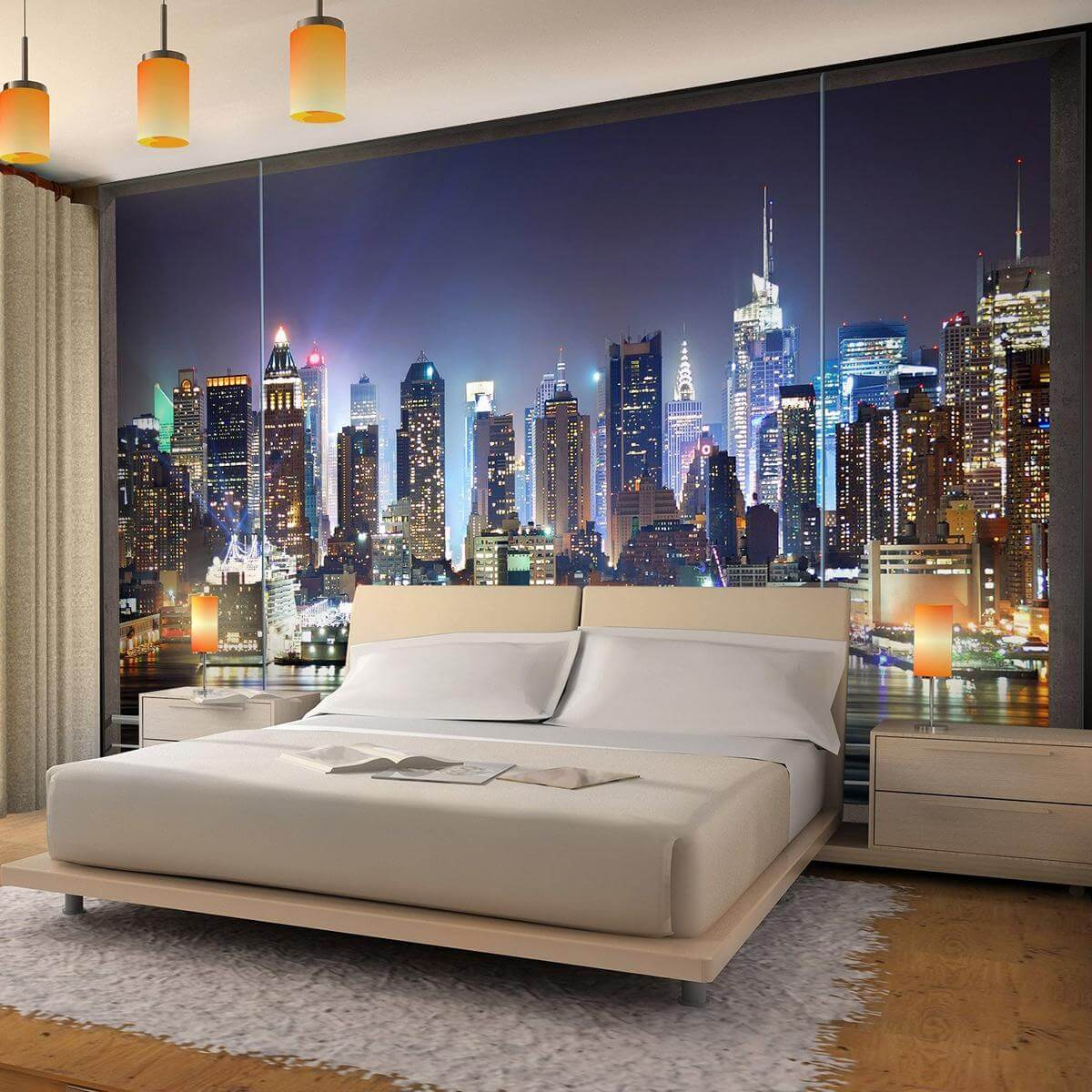 vlies fototapete fenster nach new york. Black Bedroom Furniture Sets. Home Design Ideas
