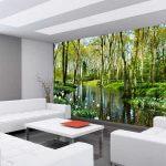 Vlies Fototapete Natur Wald Wasser Wohnansicht