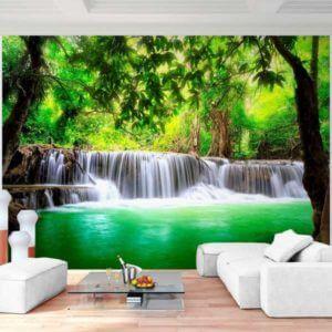 Vlies Fototapete Wasserfall Wald Natur Wohnansicht