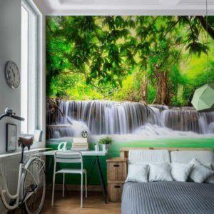 Vlies Fototapete Wasserfall Wald Natur Wohnansicht im Schlafzimmer