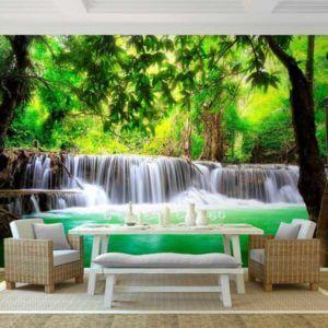 Vlies Fototapete Wasserfall Wald Natur Wohnansicht mit Tisch