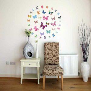 Wandtattoo bunte Schmetterlinge Stuhl