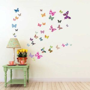 Wandtattoo bunte Schmetterlinge Tisch