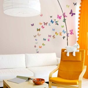 Wandtattoo bunte Schmetterlinge Wohnansicht