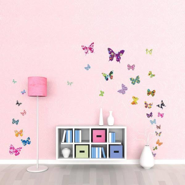Wandtattoo Bunte Schmetterlinge