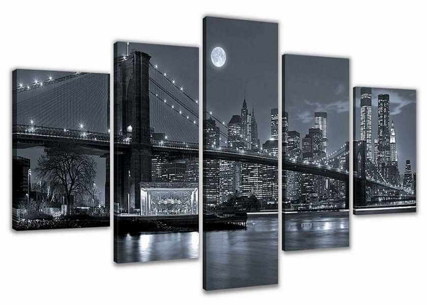 leinwandbild new york wandbild aus 5 teilen. Black Bedroom Furniture Sets. Home Design Ideas