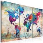 Leinwandbild Weltkarte in blau