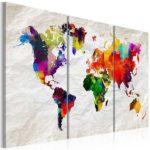 Leinwandbild Weltkarte in braun