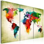Leinwandbild Weltkarte in grün