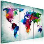 Leinwandbild Weltkarte in grün 2