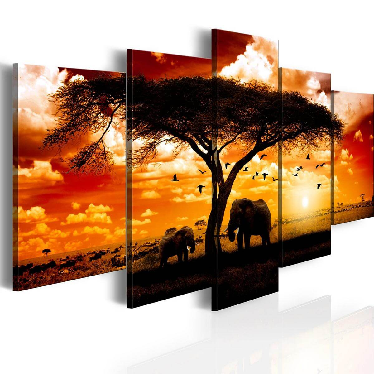 leinwandbild panorama afrika sonnenuntergang. Black Bedroom Furniture Sets. Home Design Ideas