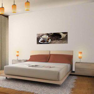 Leinwandbild Kaffee Bett