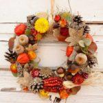 Herbstkranzdeko für die Wand