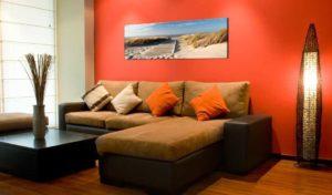 Leinwandbild Kunstdruck Wandbild Strand Wohnansicht mit Sofa