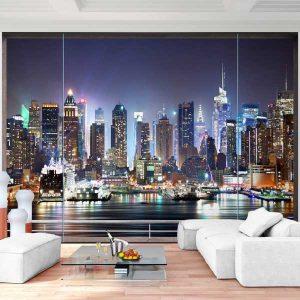 Vlies Fototapete Fenster nach New York Wohnansicht