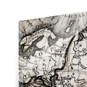 Glasbild Alte Weltkarte Detailansicht