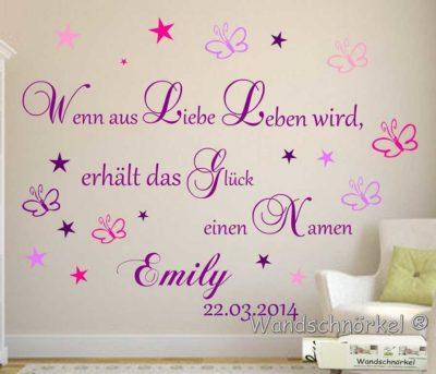 Wandtattoo Wandspruch Baby lila für Mädchen