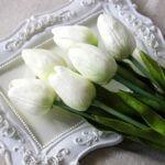 Blumenstrauß Tulpen - Kunstblume in weiß