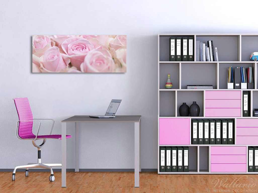 Glasbild Rosa Rosenblüten Wohnwand