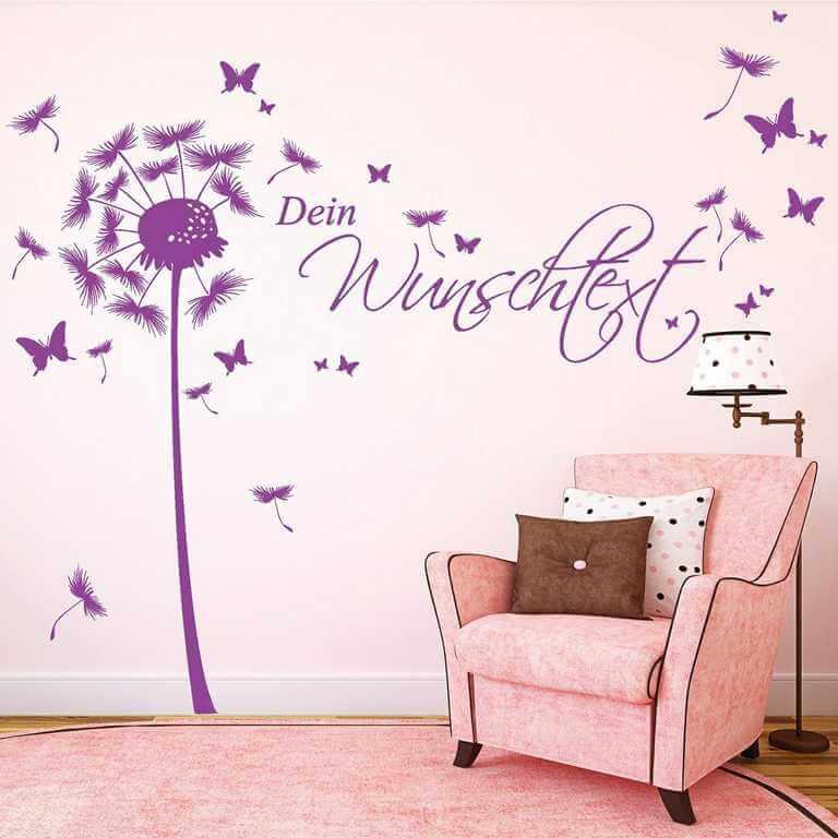 Wandtattoo Pusteblume mit Wunschtext in Pink