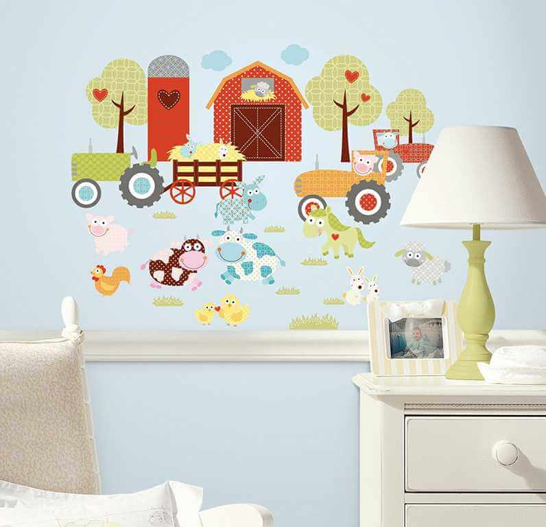 wandtattoo bauernhof wandsticker f rs kinderzimmer. Black Bedroom Furniture Sets. Home Design Ideas