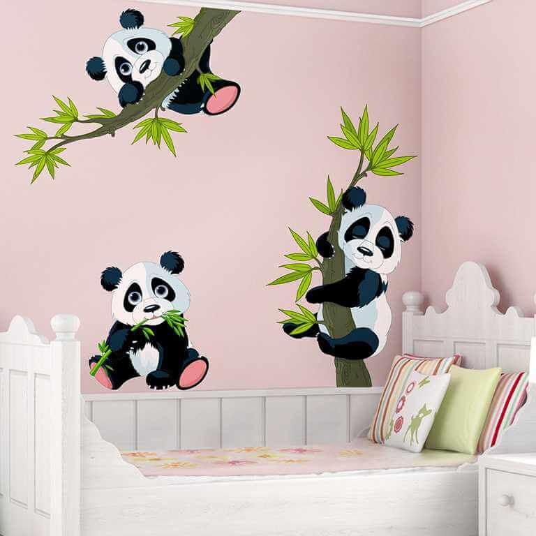 wandtattoo pandab ren set f r babyzimmer. Black Bedroom Furniture Sets. Home Design Ideas