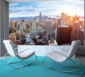 Fototapete Penthouse Wohnansicht Stühle