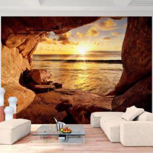 Vlies Fototapete Strand mit Sonnenuntergang Wohnansicht