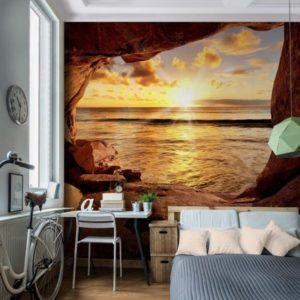 Vlies Fototapete Strand mit Sonnenuntergang Zimmeransicht