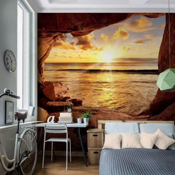 Vlies Fototapete Strand mit Sonnenuntergang