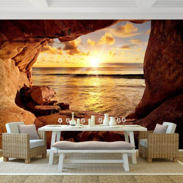 vlies fototapete strand mit sonnenuntergang. Black Bedroom Furniture Sets. Home Design Ideas