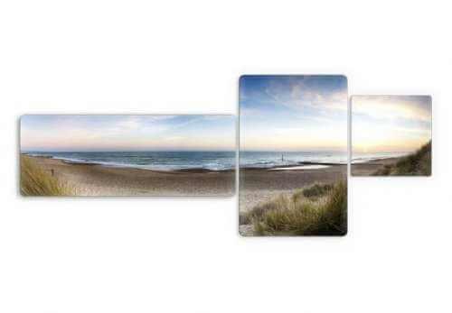 Glasbild Strand Panorama 3 teilig