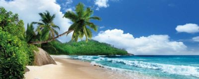 Glasbild Strand - Urlaub auf den Seychellen