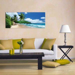 Glasbild Strand - Urlaub auf den Seychellen Wohnansicht 2