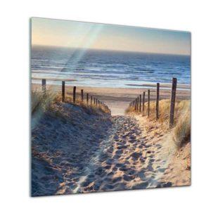 Glasbild Strand Weg über die Dünen