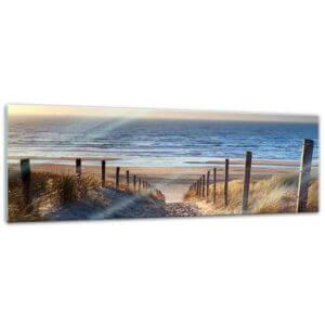 Glasbild Strand Weg über die Dünen 90x30