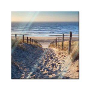 Glasbild Strand Weg über die Dünen Frontansicht