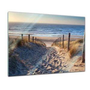 Glasbild Strand Weg über die Dünen Frontansicht 80x60