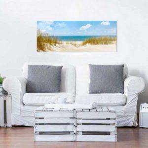 Glasbild Strand an der Nordsee Wohnansicht Couch 2