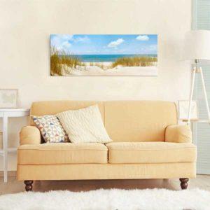 Glasbild Strand an der Nordsee Wohnansicht Couch