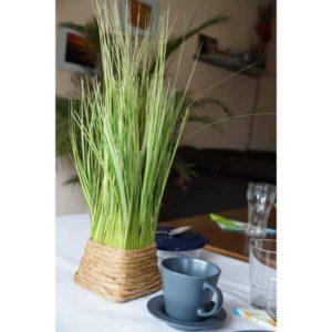 Deko Gräser Gräsbüschel im Korb auf dem Tisch