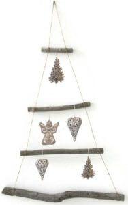 Deko Zweige Weidenhaken gebunden in Grau und Weiß