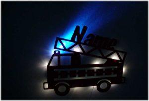 Feuerwehr Lampe als Nachtlicht mit Name bei Nacht