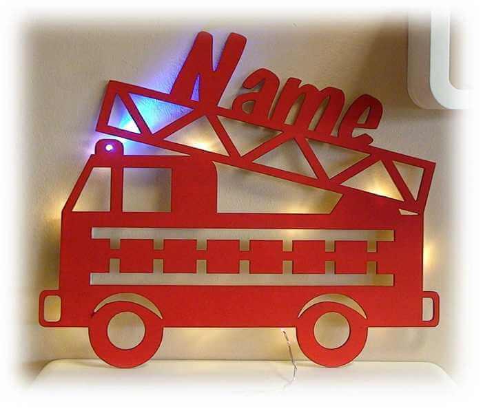 Feuerwehr Lampe als Nachtlicht mit Name