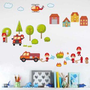 Kinderzimmer Wandtattoo großes Feuerwehr Set